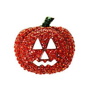 Cute Stunning Pumpkin Crystal Brooch Pin Halloween Holiday Jewelry Kids Gift