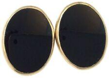 VINTAGE EARRINGS 12K GOLD FILLED BLACK ONYX CABOCHONS 3 GRAMS SCREW BACK STYLE