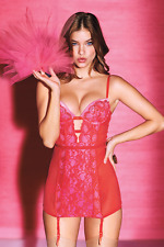 NWT Victoria's Secret 36C garter slip/dress CORSET bustier RED PINK Valentine