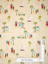 Beach House Surf Board Car Sand Cotton Fabric Riley Blake C4920 Offshore - Yard