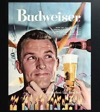 1957 Vintage Print Ad 1950s BUDWEISER Pour Beer In Glass Image