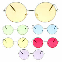 Bright Color Lens Retro Style Round Circle Hippie Groovy Sunglasses