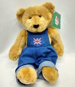 "Harrods Large 13"" Teddy Bear Denim Boy Denim Overalls w British Flag UK NWT"