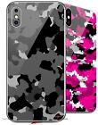 2X Skins for iPhone X XS WraptorCamo Old School Camouflage Camo Black