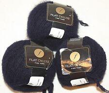 NEW 3 Skeins Blue Monaco by Filati Deluxe Fine Yarn Boucle Texture 492 Yds Ea