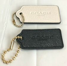 COACH LEATHER EXTRA LARGE/LARGE SET OF 2 HANDBAG CHARMS  BLACK/CHALK  NWOT