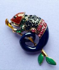 IGUANA LIZARD BROOCH PIN - Colorful Enamel (blue tail) / Crystals / Gold-tone