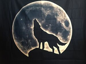 """NEW 60""""x52"""" Velvety Wolf Howling at Full Moon Black Tapestry Wall Decor w/Clips"""