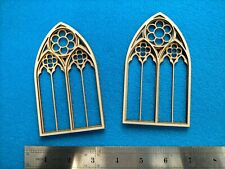 More details for 1:12 laser cut gothic church window x 2 for doll house, diorama - angela downton