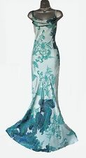 MONSOON Stunning Green Paisley Print Silk Satin Straps Cocktail Max Dress MEDIUM