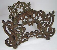 Antique Art Nouveau Expandable Book Rack lovely scrollwork cast iron bronze ends