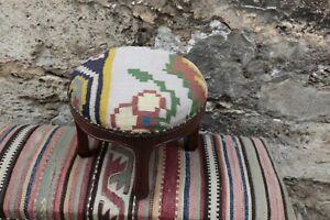 Ottoman Stool,Kilim Upholstery Stool,Round Kilim Stool,Foot stool Round Stool,