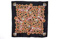 CHANEL 86 cm Large Scarf 100% Silk Jewelry pattern Stole Shawl Black 3732k