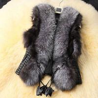 Women Faux Fur Ladies Sleeveless Vest Waistcoat Jacket Gilet Shrug Coat Outwear