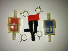 BRIGGS AND STRATTON 90° FUEL SHUT OFF VALVE.+ 2 FILTERS + 4 clips Ø 12mm