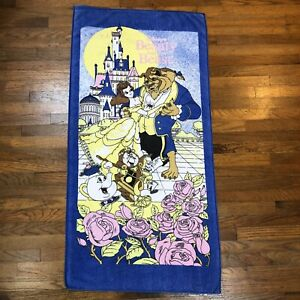 Vintage Beauty & the Beast Walt Disney Movie Beach Bath Towel 1990's Franco