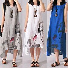 AU 8-24 Women Sleeveless Summer Ink Print Floral Loose Long Maxi Shirt Sun Dress