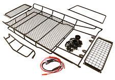 C27218Black Model Full Roof Rack 335x182x42mm w/Leds for 1/10 D90 Gen-2 Body