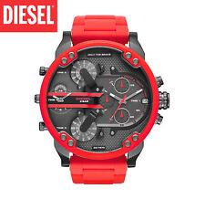 NEW DIESEL DZ7370 MR DADDY 2.0 Gunmetal Dial Red Silicone Strap Men's Watch 57mm