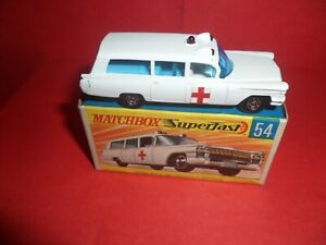 HTF Matchbox #54-Cadillac Ambulance,Nr Mint In Nr Mint Original Box,1970/71.