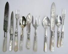 10 Antique Silver Plated & Mother of Pearl Cutlery Jam Spoons, Butter Knife etc