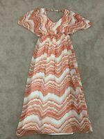 Sheike Women's Long Summer Dress Size 12 Orange & White Made in Australia