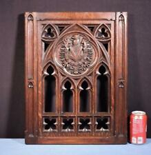 *French Antique Gothic Revival Panel in Oak Wood Salvage With Eagle