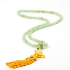 Tibet Buddhist 108 Light Green Jade Prayer Beads Mala Necklace