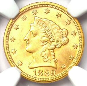 1889 Liberty Gold Quarter Eagle $2.50 Coin - Certified NGC MS64 - $2,750 Value