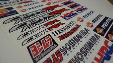 Honda CBR HRC Repsol motorbike racing decals set, A4 sheet 30 fairing stickers