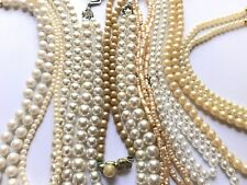 HUGE LOT VINTAGE PEARL NECKLACES BRACELET MONET JAPAN SARAH COVENTRY EASY ATTACH