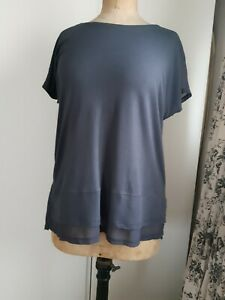 Label Lab ladies long t-shirt top with voile layered hem, slate grey size 14