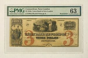 1850s Connecticut New-London $3 Union Bank CT320G176a PMG 63 Choice Uncirculated