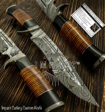IMPACT CUTLERY RARE CUSTOM DAMASCUS FULLER BOWIE KNIFE STACKED LEATHER HANDLE