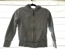 Mini Boden Blue Red Polka Dot Sweatshirt Zip Front Sherpa Lined Hooded Sz 9 10Y