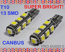 2x 13 SMD LED 501 T10 W5W CANBUS Xenon White 6000K Side Light LED Bulbs - 130LM