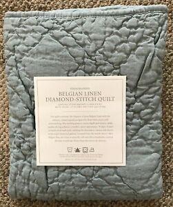 Restoration Hardware Belgian Linen Diamond Stitch Lumbar Pillow Sham Silver Sage