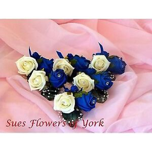 SET OF 6 LUXURY DOUBLE BUTTONHOLES IN ROYAL BLUE