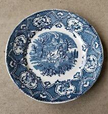 """Rare HTF Staffordshire England Pocahontas Blue & White Plate R&M Co. Chariot 9"""""""
