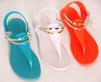 Refresh SAHARA Women's T-Strap Jelly Thong Buckle Flat Heel Casual Beach Sandals