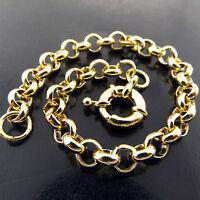 Bracelet Bangle Real 18k Yellow G/F Gold Solid Antique Belcher Link Bolt Ring