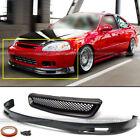 Fits 99-00 Honda Civic EK 2DR 3DR 4DR Spoon Style Front Bumper Lip + Mesh Grille