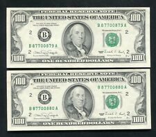 (2) CONSECUTIVE FR. 2173-B 1990 $100 FRN'S FEDERAL RESERVE NOTE NEW YORK, NY AU