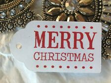 10 White Favour Gift Swing Tags Merry Christmas Present Xmas Gift Secret Santa