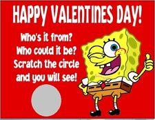 spongebob valentines day party favor scratch off cards tickets personalized - Spongebob Valentine Cards