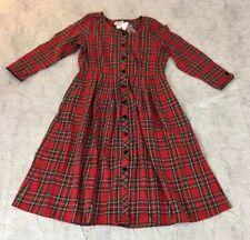 NEW Lanz of Salzburg Red Plaid  Empire Waist Button Front Dress Sz Large