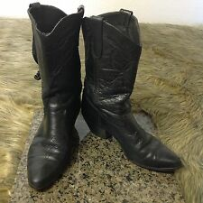 Laredo Women's Sz 6 M Black Soft Leather Western Cowboy Boots Made in USA