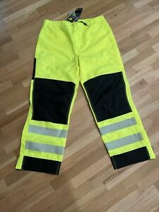 Carhartt Mens L High Visibility Rain Pants Neon Yellow/Green Hi Vis NWOT