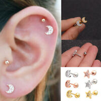 Labrets Lip Surgical Steel Tragus Earrings Star Shape Ear Studs Cartilage Helix
