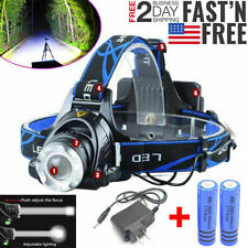 250000LM Rechargeable Head light T6 LED Tactical Headlamp Zoomable+Charger+18650